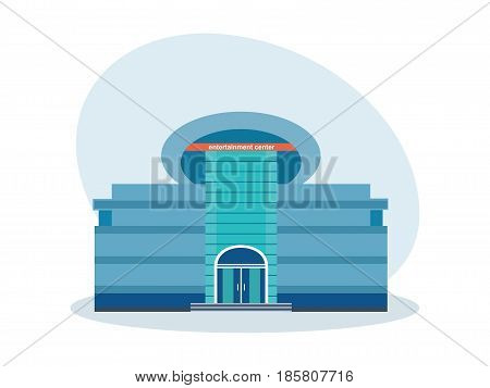 A modern shopping and entertainment center, an architectural structure, a resting place. City building. Modern vector illustration isolated on white background.