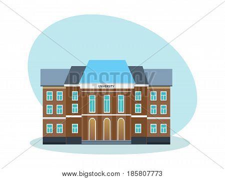 Modern university building, educational system, school establishment. Modern vector illustration isolated on white background.