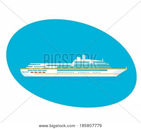 Large cruise passenger liner on a white background. Modern vector illustration isolated.