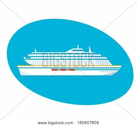 A large multi-storey cruise passenger liner on a white background. Modern vector illustration isolated.