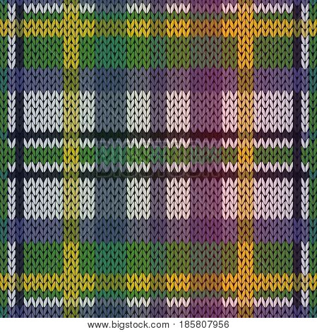 Knitting seamless vector pattern as a fabric texture mainly in green yellow blue and white colors