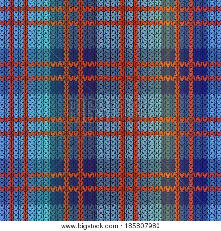 Seamless knitting vector pattern as a fabric texture in blue and red hues