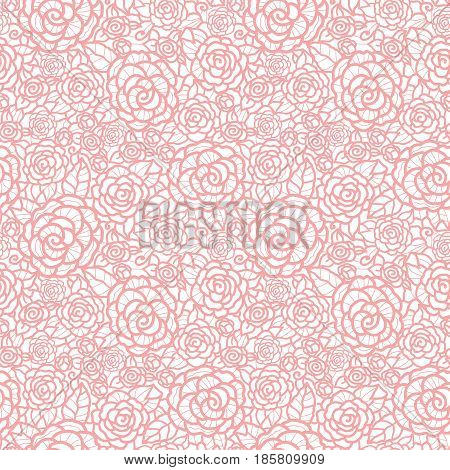 Vector gentle pastel pink lace roses seamless repeat pattern background. Great for wedding or bridal shower decor, invitations, gifts. Surface pattern design.