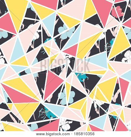 Vector abstract floral triangles seamless repeat pattern design. Great for modern fabric, wallpaper, scrapbooking, giftwrap, packaging projects. Surface pattern design.