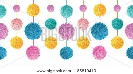 Vector Happy Colorful Birthday Party Pom Poms On Strings Set Horizontal Seamless Repeat Border Pattern. Great for handmade cards, invitations, wallpaper, packaging, nursery designs. Surface pattern design.
