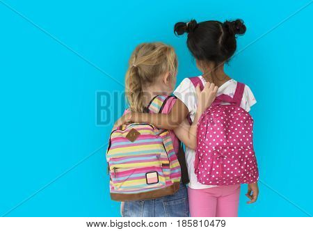 Little Girl Children Rear View Friendship Togetherness