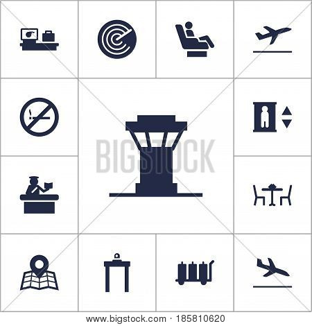 Set Of 13 Land Icons Set.Collection Of Lift, Security, Leaving And Other Elements.