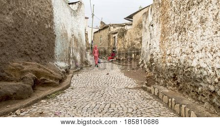 Colorful walls and cobblestones of Harar, Ethiopia