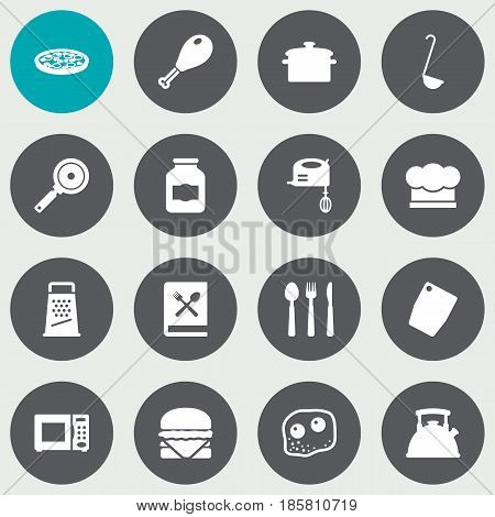 Set Of 16 Kitchen Icons Set.Collection Of Cooking Instruction, Sandwich, Jar Elements.