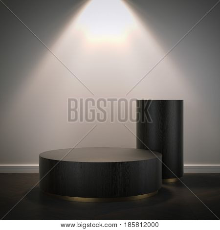 Two wooden podiums in modern room with bright light. 3d rendering