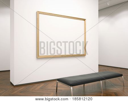 Modern gallery interior with blank picture frame. 3d rendering