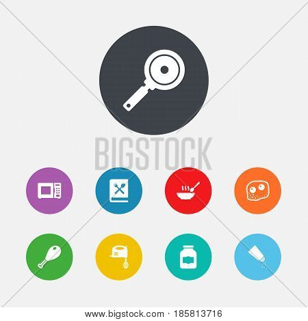 Set Of 9 Cooking Icons Set.Collection Of Poultry Foot, Jar, Electronic Oven And Other Elements.