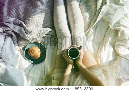 Woman Hot Coffee Croissant On Bed Morning