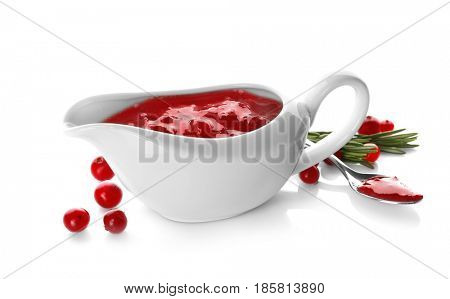Delicious cranberry sauce in boat on white background