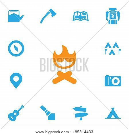 Set Of 13 Outdoor Icons Set.Collection Of Tent, Kettle, Backpack And Other Elements.