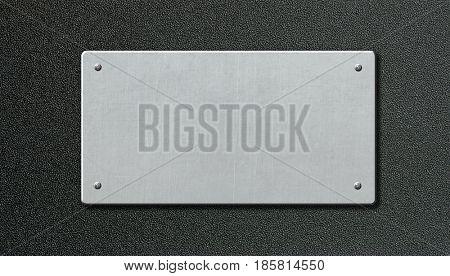 metal plaque over black plastic background 3d illustration
