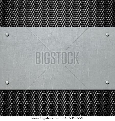 metal plate with rivets background 3d illustration