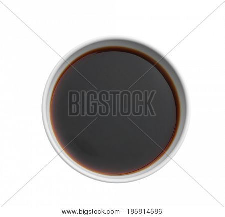 Bowl with tasty soy sauce on white background