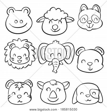 Collection stock cute animal doodles hand draw