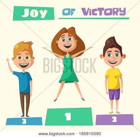 Children character. Cartoon vector illustration. Happy girls. Sisters or friends. Positive emotions. Friendly kids