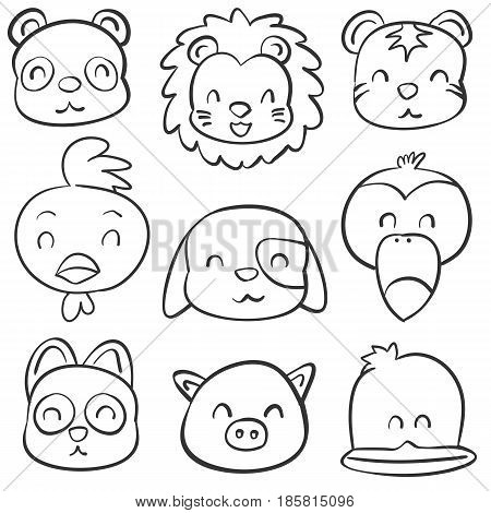 Vector art cute animal doodle style collection stock