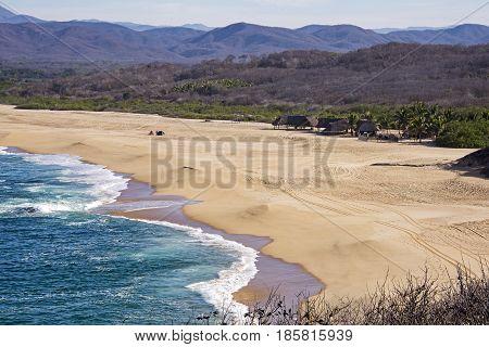 Remote Pacific Ocean beach in Cabo Corrientes Mexico