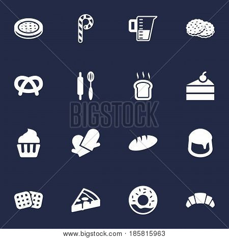 Set Of 16 Cook Icons Set.Collection Of Slice Bread, Snack, Pepperoni And Other Elements.