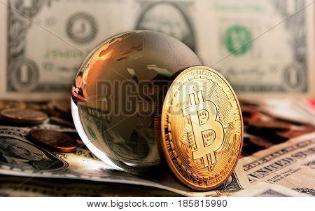 Bitcoin Cristal Globe Over  Dollar Background
