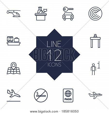 Set Of 12 Land Outline Icons Set.Collection Of Data, Helicopter, Airport Security And Other Elements.