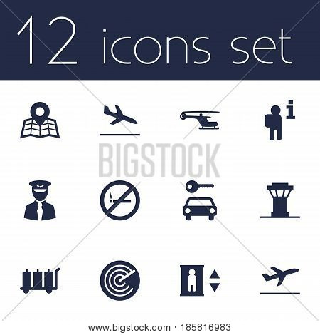 Set Of 12 Land Icons Set.Collection Of Radiolocator, Letdown, Air Traffic Controller And Other Elements.