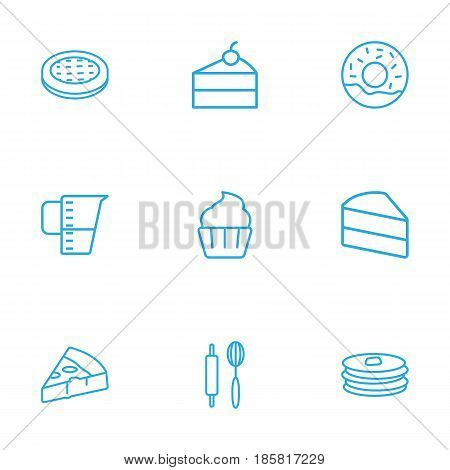 Set Of 9  Outline Icons Set.Collection Of Pizza, Pancakes, Measuring Cup And Other Elements.