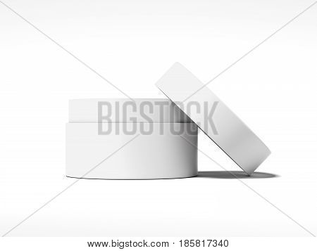 White blank jar for cream isolated on bright background. 3d rendering