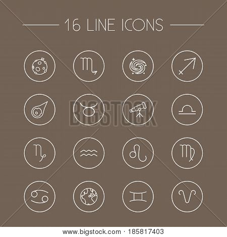 Set Of 16 Astronomy Outline Icons Set.Collection Of Globe, Telescope, Capricorn And Other Elements.