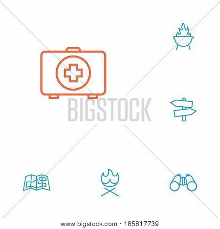 Set Of 6 Outdoor Outline Icons Set.Collection Of Bonfire, Guidepost, Grill And Other Elements.
