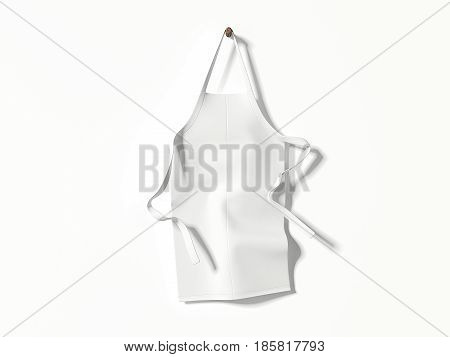 White blank apron hanging on bright wall. 3d rendering
