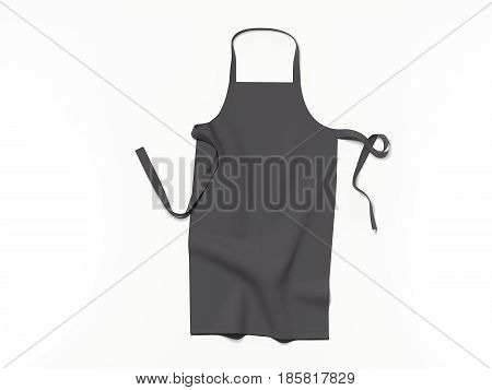 Black blank apron isolated on bright background. 3d rendering