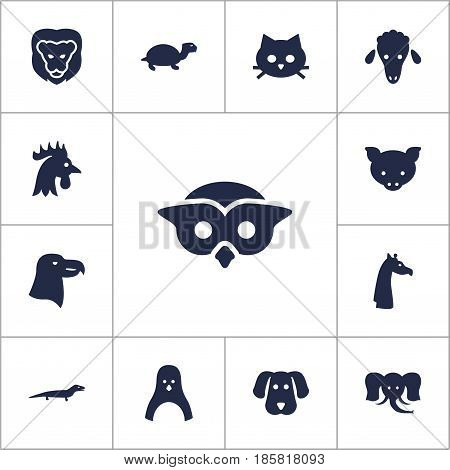 Set Of 13 Brute Icons Set.Collection Of Rooster, Gecko, Camelopard And Other Elements.