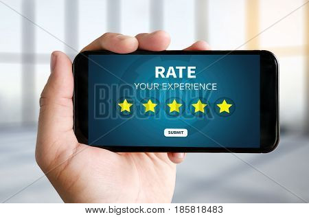 Businessman Holding Five Star Rating  Review Increase Rating Or Ranking, Evaluation And Classificati