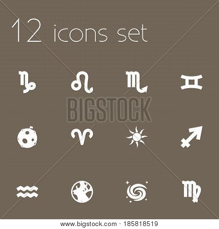 Set Of 12 Galaxy Icons Set.Collection Of Lunar, Virgin, Ram And Other Elements.