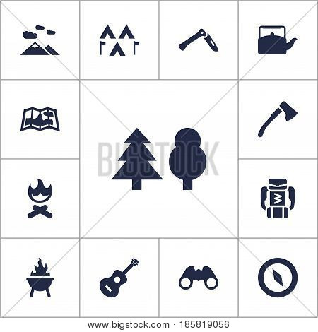 Set Of 13 Picnic Icons Set.Collection Of Jackknife, Tree, Map And Other Elements.