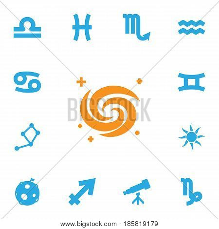Set Of 13 Astrology Icons Set.Collection Of Crab, Binoculars, Scales And Other Elements.