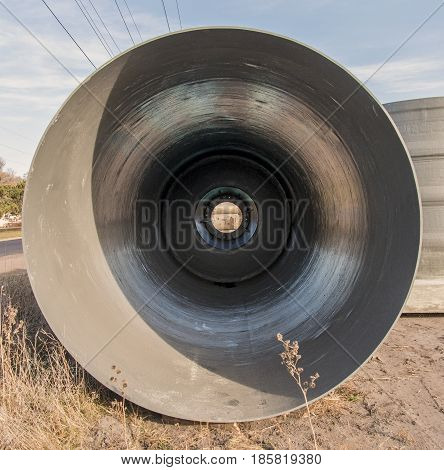 A view inside a pipe that will eventually be used for a sewer line.