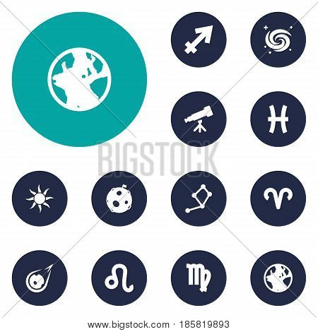 Set Of 12 Astronomy Icons Set.Collection Of Earth Planet, Lunar, Archer And Other Elements.