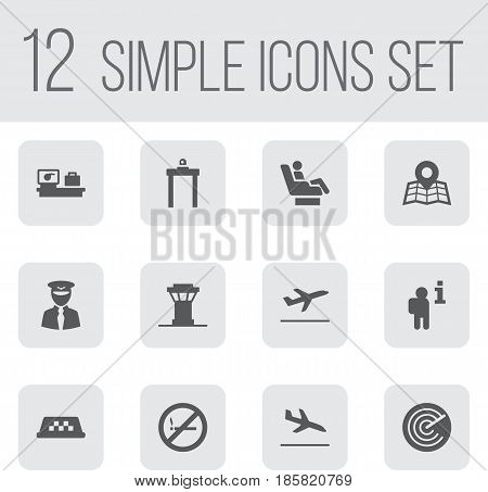 Set Of 12 Airplane Icons Set.Collection Of Letdown, Luggage Check, Leaving And Other Elements.