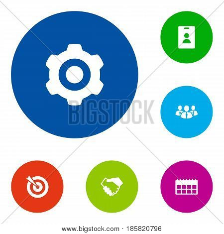 Set Of 6 Business Icons Set.Collection Of Data, Id Card, Partnership And Other Elements.