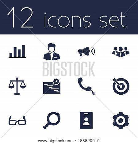 Set Of 12 Employment Icons Set.Collection Of Diagram, Worker, Mechanism And Other Elements.