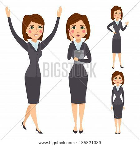 Vector business woman character silhouette standing adult office career posing young girl. Manager looking occupation worker success job portrait professional design illustration.