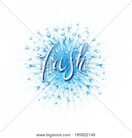 The raster version water splash. Fresh word hand lettering. Scatter spray from falling into the water.