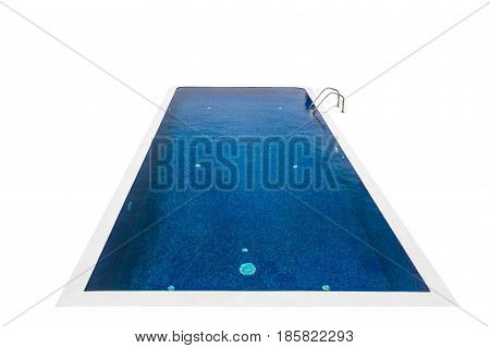 Isolated blue swimming pool on white background