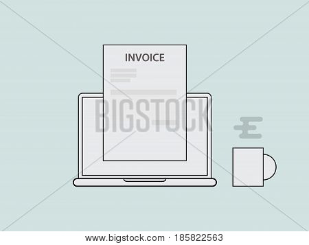invoice concept illustration with laptop a glass of coffee and invoicing document with vector line style vector